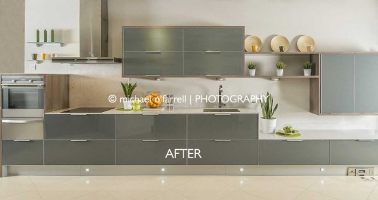Creating a photo on location - Kitchen in Client Showroom