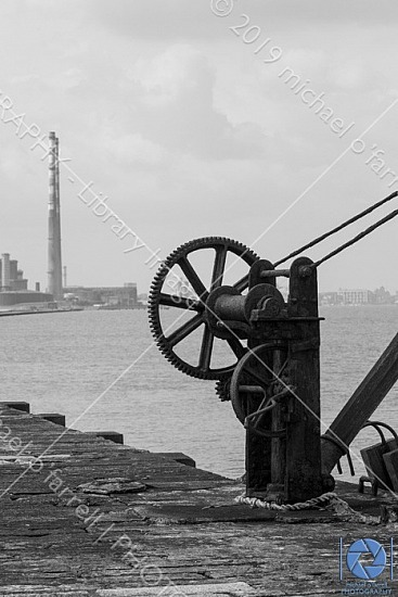 Rusting Lifting Gear with twin chimneys in Dublin Bay